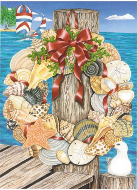 Bx naut sw56 shell wreath holiday cards