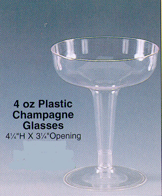 plcmp clear rigid plastic squat champagne glasses 4 oz